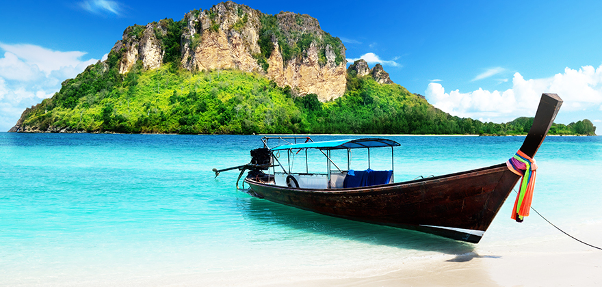 Take a long tail boat to the world-class Railay Beach