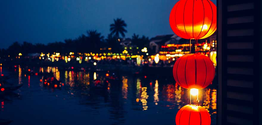 Thu Bon River by night at Hoi An, Vietnam